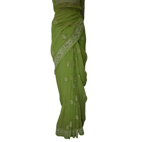 Image of chikankari saree pleates