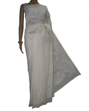 Front imgae of Pure georgette chikankari saree
