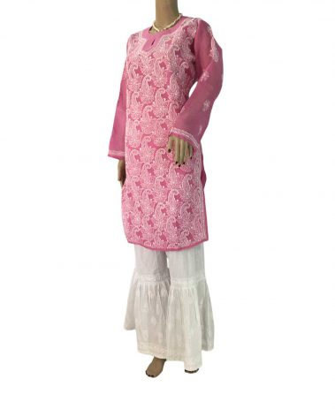Pink Long Cotton Chikankari Kurta