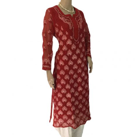 Red Long Georgette Lucknowi Chikankari Kurti