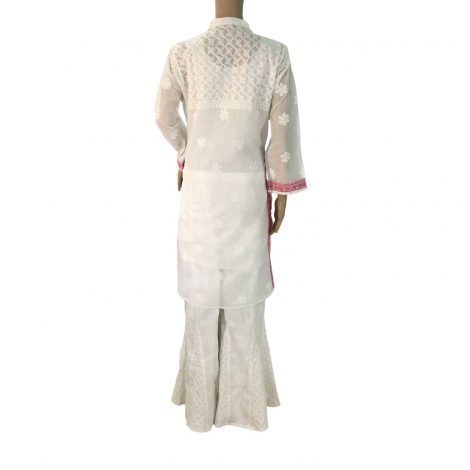 White Long Cotton Chikankari Kurta