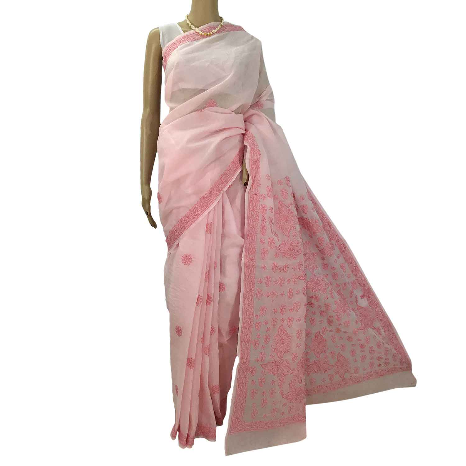 4ac2a8660d Baby Pink wIth dark Pink Cotton Lucknowi Chikankari Saree - RZUstyle