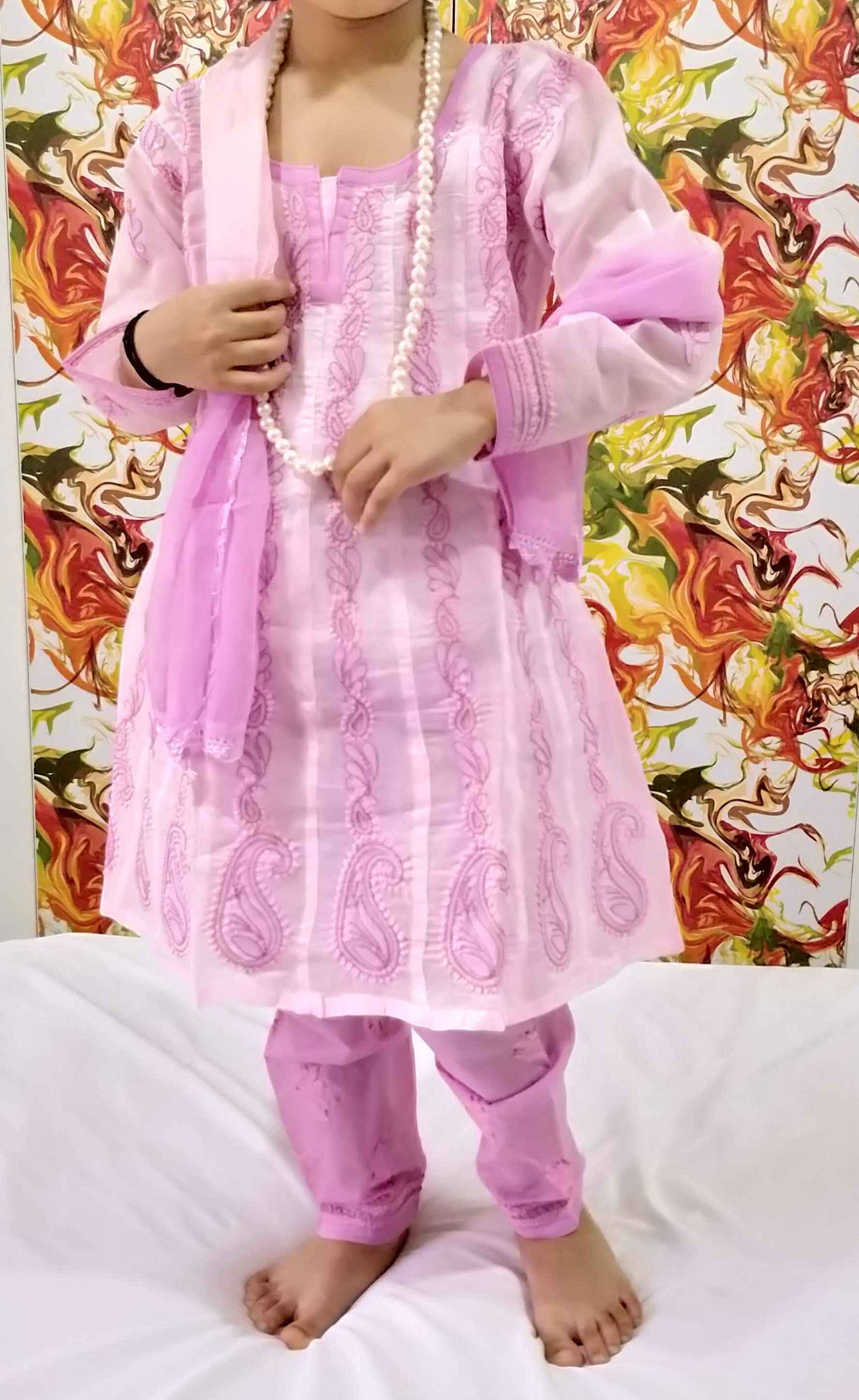 db5ca77ff1 Baby Pink Lucknowi Chikankari Anarkali Suit for Girls - RZUstyle