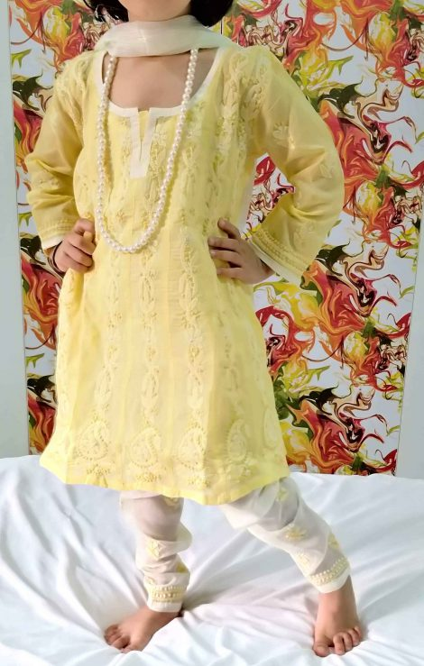 Front image of chikankari anarkali set