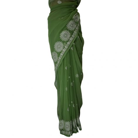 Image of Chikankari saree pleats