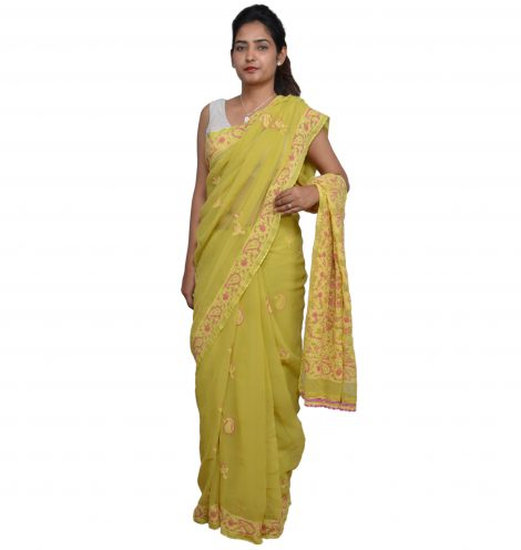 Front image of the Chikankari saree
