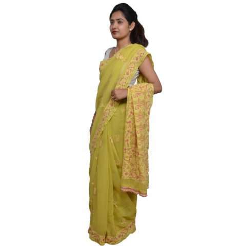 Side image of chikankari saree