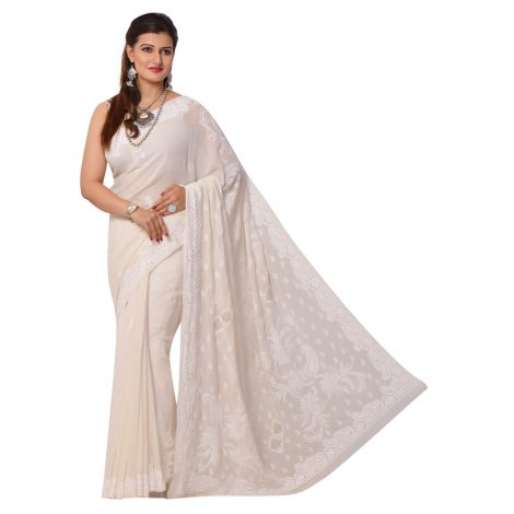 Pure Georgette Chikankari Saree in Ivory Border and Pallu