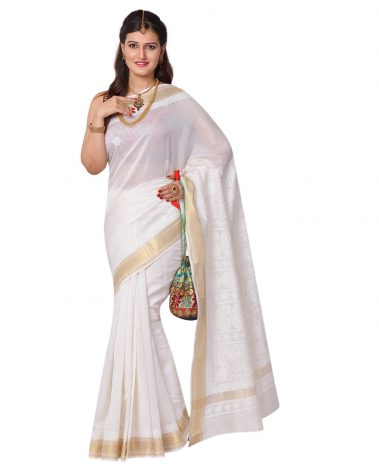 Chikankari Saree in Ivory Chanderi Kerala style