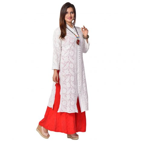 Georgette Long Lucknowi Kurti in full body embroidery