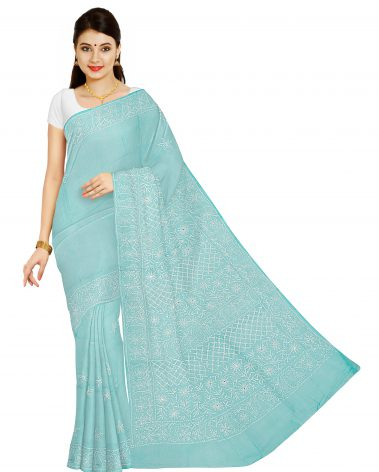 Front image of chikankari saree