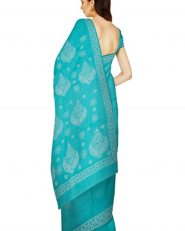 Back image of chikankari saree